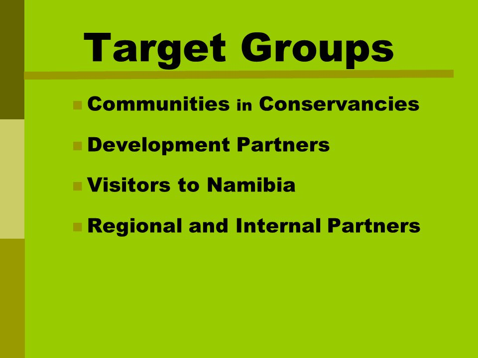 Target Groups Communities in Conservancies Development Partners Visitors to Namibia Regional and Internal Partners