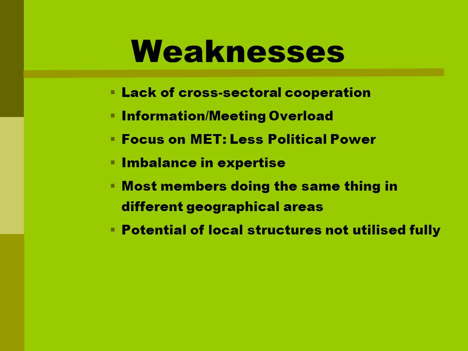 Weaknesses  Lack of cross-sectoral cooperation  Information/Meeting Overload  Focus on MET: Less Political Power  Imbalance in expertise  Most members doing the same thing in different geographical areas  Potential of local structures not utilised fully