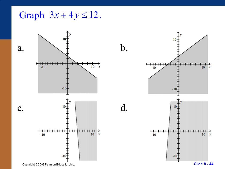 Slide 8 - 44 Copyright © 2009 Pearson Education, Inc. Graph a.b. c.d.