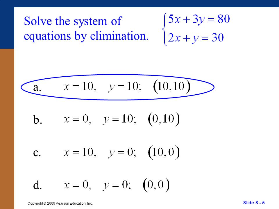 Slide 8 - 46 Copyright © 2009 Pearson Education, Inc. Graph the solution set of a. b. c.d.