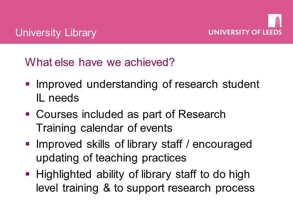 University Library What else have we achieved.