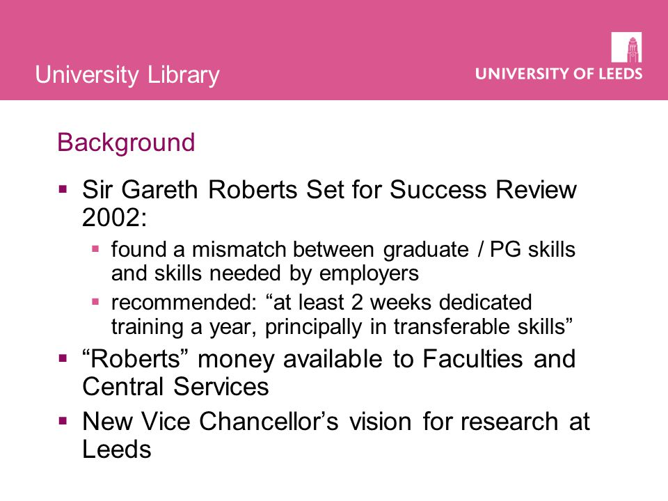 University Library Research training and the Library In 2003:  Little provision of IL training for PhD students within Faculties  Literature searching skills rarely taught  No clear strategy (despite IL Strategy for UGs / taught PGs agreed in 2003)  Library's open workshops very popular with PhD students