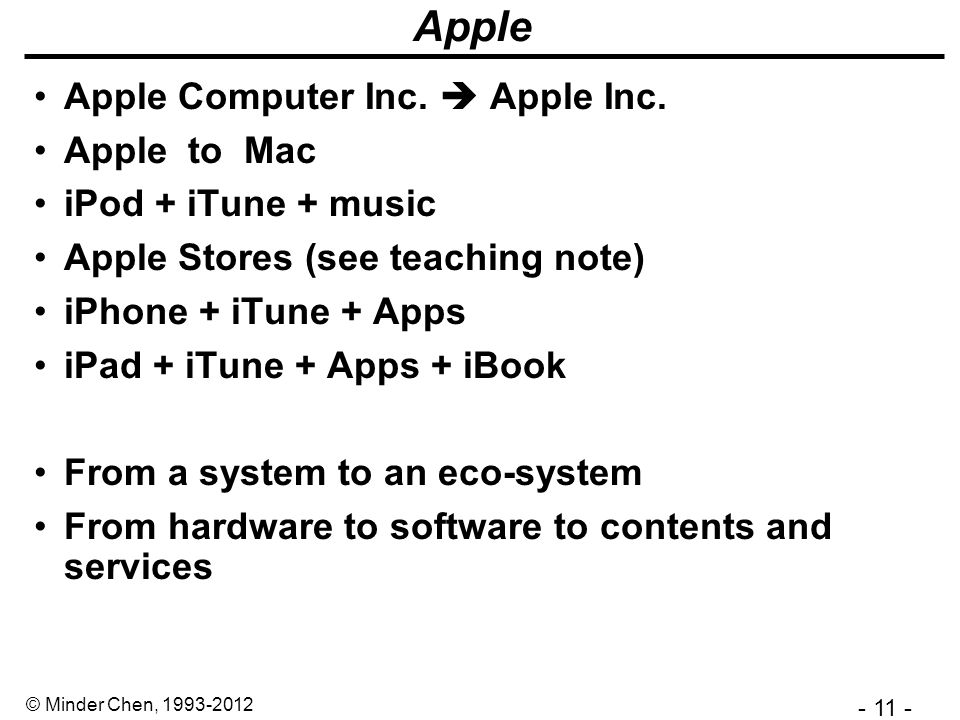 - 11 - © Minder Chen, 1993-2012 Apple Apple Computer Inc.