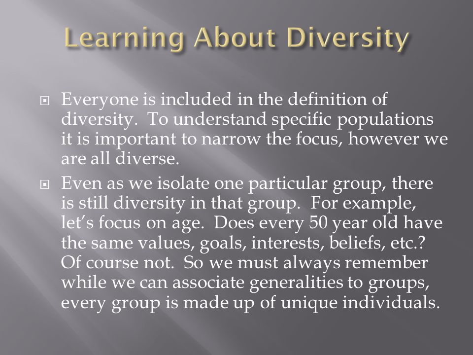  Everyone is included in the definition of diversity.