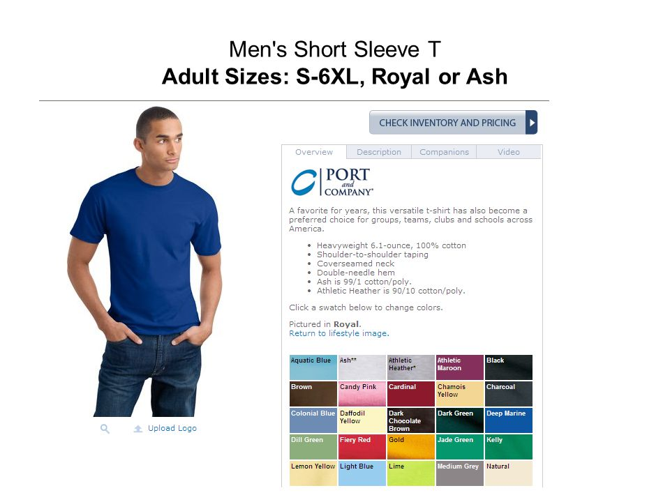 Men's Short Sleeve T Adult Sizes: S-6XL, Royal or Ash