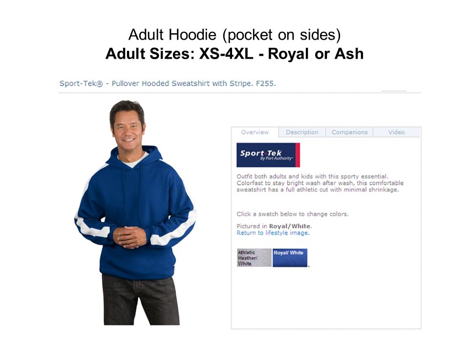 Adult Hoodie (pocket on sides) Adult Sizes: XS-4XL - Royal or Ash