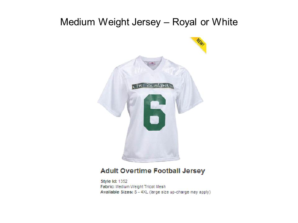 Medium Weight Jersey – Royal or White