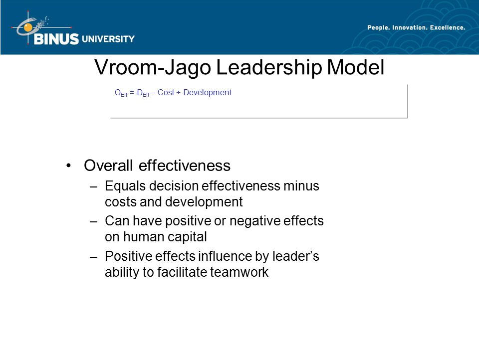 Vroom-Jago Leadership Model Overall effectiveness –Equals decision effectiveness minus costs and development –Can have positive or negative effects on human capital –Positive effects influence by leader's ability to facilitate teamwork O Eff = D Eff – Cost + Development
