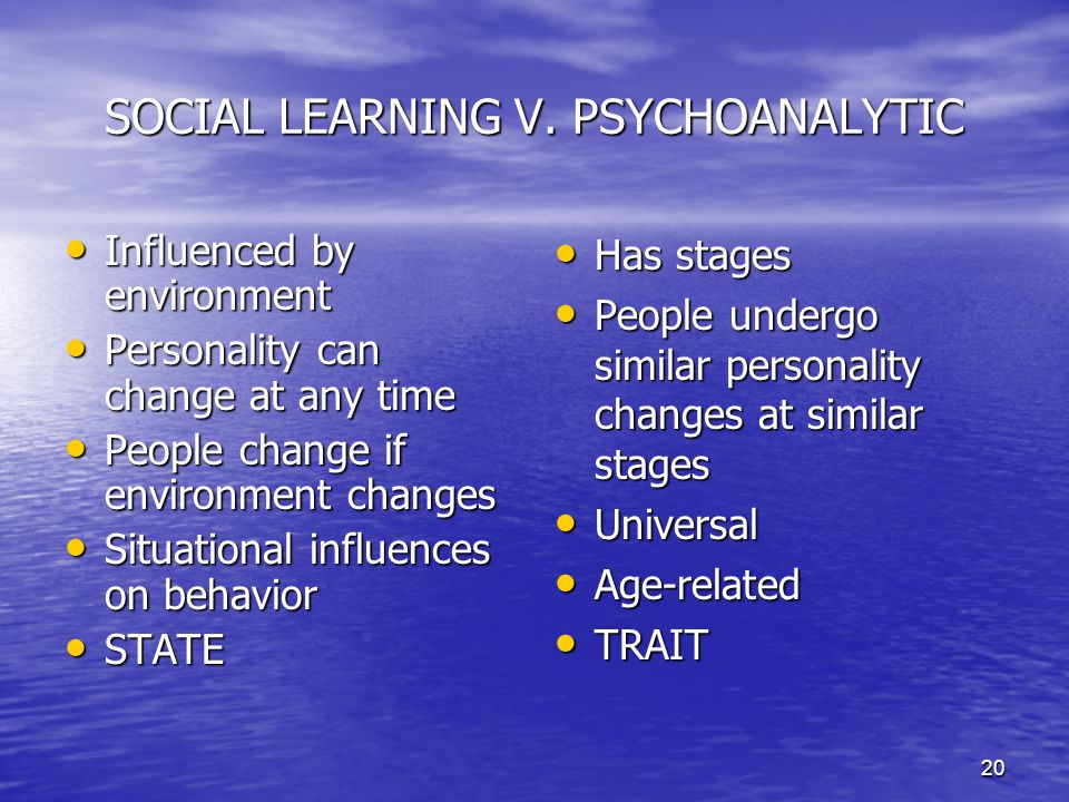 20 SOCIAL LEARNING V. PSYCHOANALYTIC Influenced by environment Influenced by environment Personality can change at any time Personality can change at