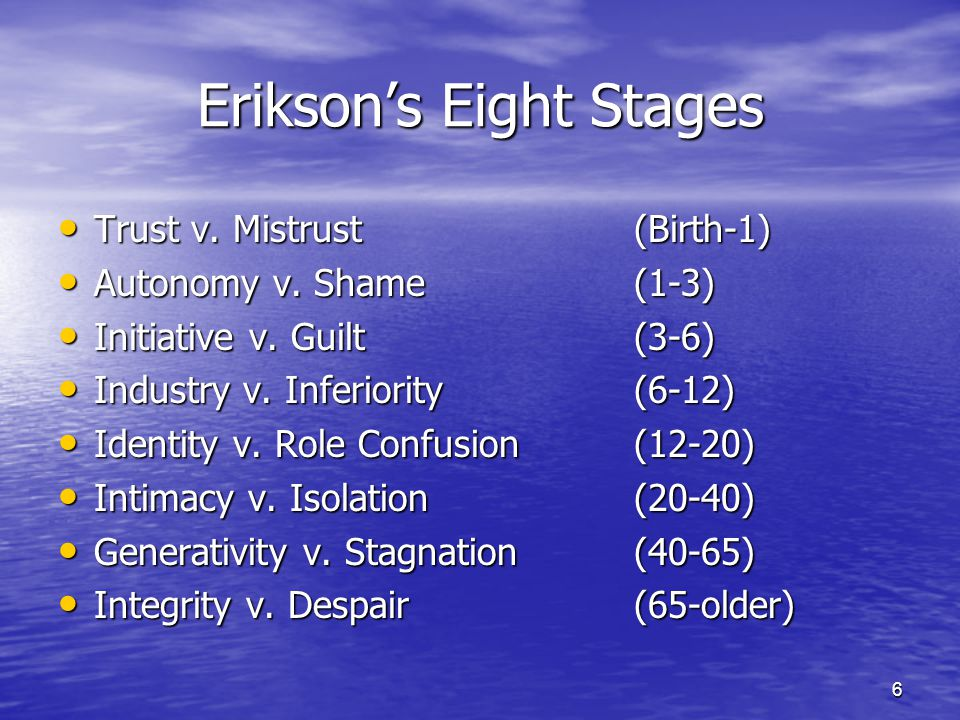 6 Erikson's Eight Stages Trust v. Mistrust(Birth-1) Trust v. Mistrust(Birth-1) Autonomy v. Shame(1-3) Autonomy v. Shame(1-3) Initiative v. Guilt(3-6)