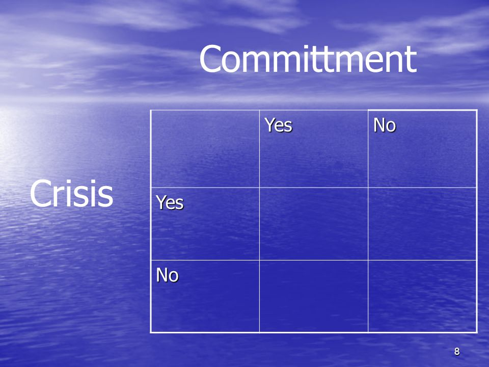 8 YesNo Yes No Committment Crisis