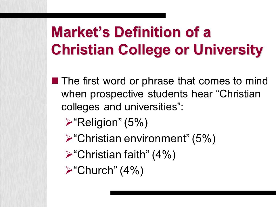 Market's Definition of a Christian College or University The first word or phrase that comes to mind when prospective students hear Christian colleges and universities :  Religion (5%)  Christian environment (5%)  Christian faith (4%)  Church (4%)