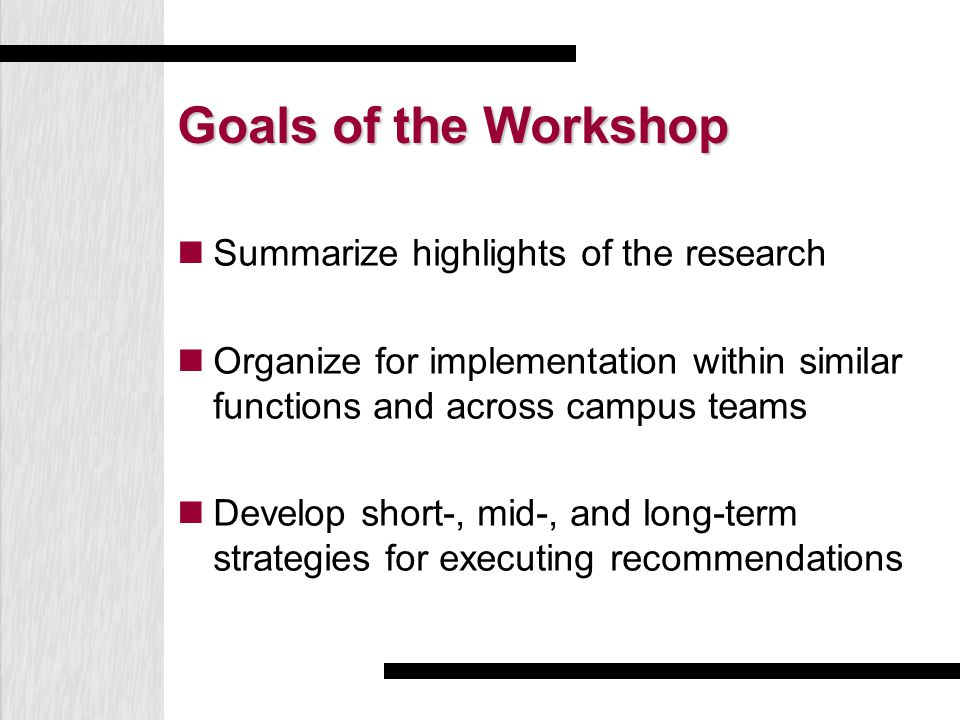 Goals of the Workshop Summarize highlights of the research Organize for implementation within similar functions and across campus teams Develop short-, mid-, and long-term strategies for executing recommendations