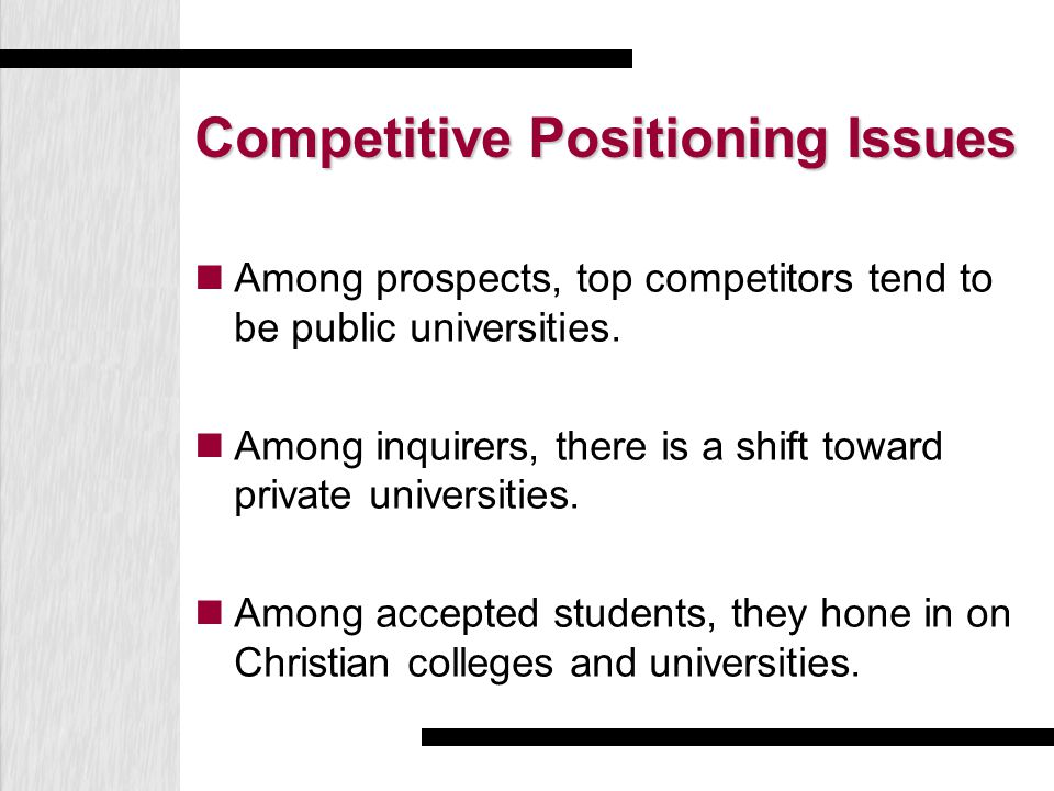 Competitive Positioning Issues Among prospects, top competitors tend to be public universities. Among inquirers, there is a shift toward private unive