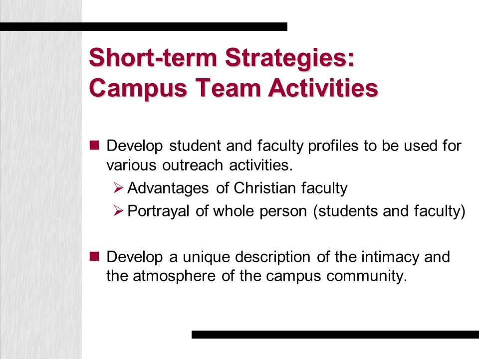 Short-term Strategies: Campus Team Activities Develop student and faculty profiles to be used for various outreach activities.