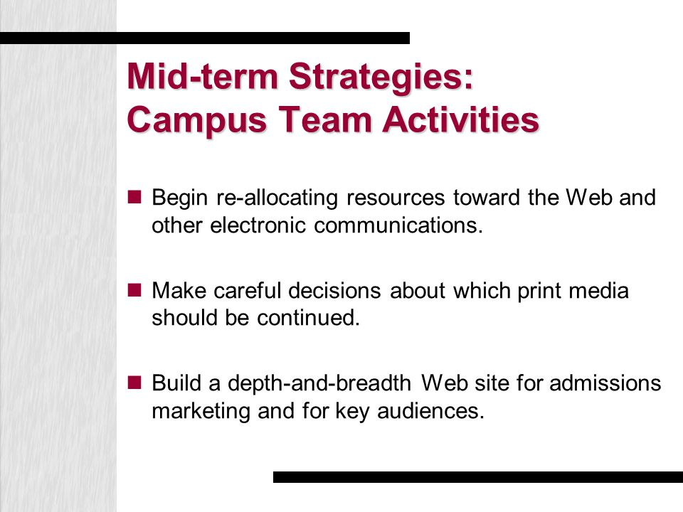Mid-term Strategies: Campus Team Activities Begin re-allocating resources toward the Web and other electronic communications. Make careful decisions a