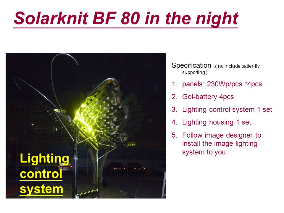 Solarknit BF 80 in the night Lighting control system Specification :( no include batter-fly supporting ) 1.panels: 230Wp/pcs *4pcs 2.Gel-battery 4pcs