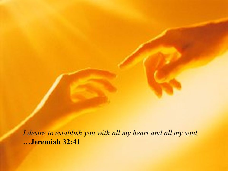 I desire to establish you with all my heart and all my soul …Jeremiah 32:41