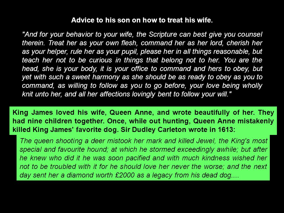 Advice to his son on how to treat his wife.