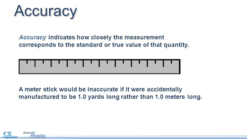 Accuracy indicates how closely the measurement corresponds to the standard or true value of that quantity.