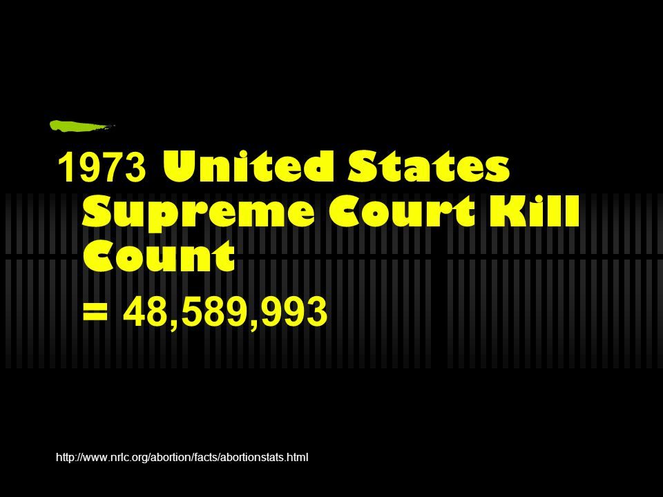 1973 United States Supreme Court Kill Count = 48,589,993 http://www.nrlc.org/abortion/facts/abortionstats.html