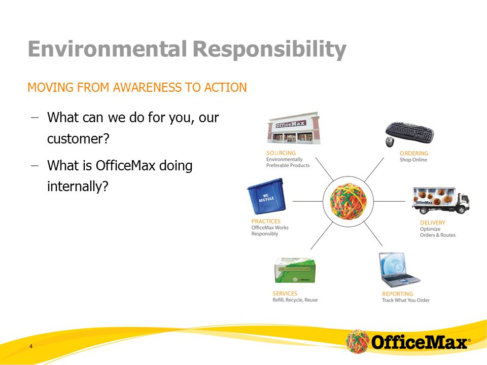 4 Environmental Responsibility MOVING FROM AWARENESS TO ACTION –What can we do for you, our customer.