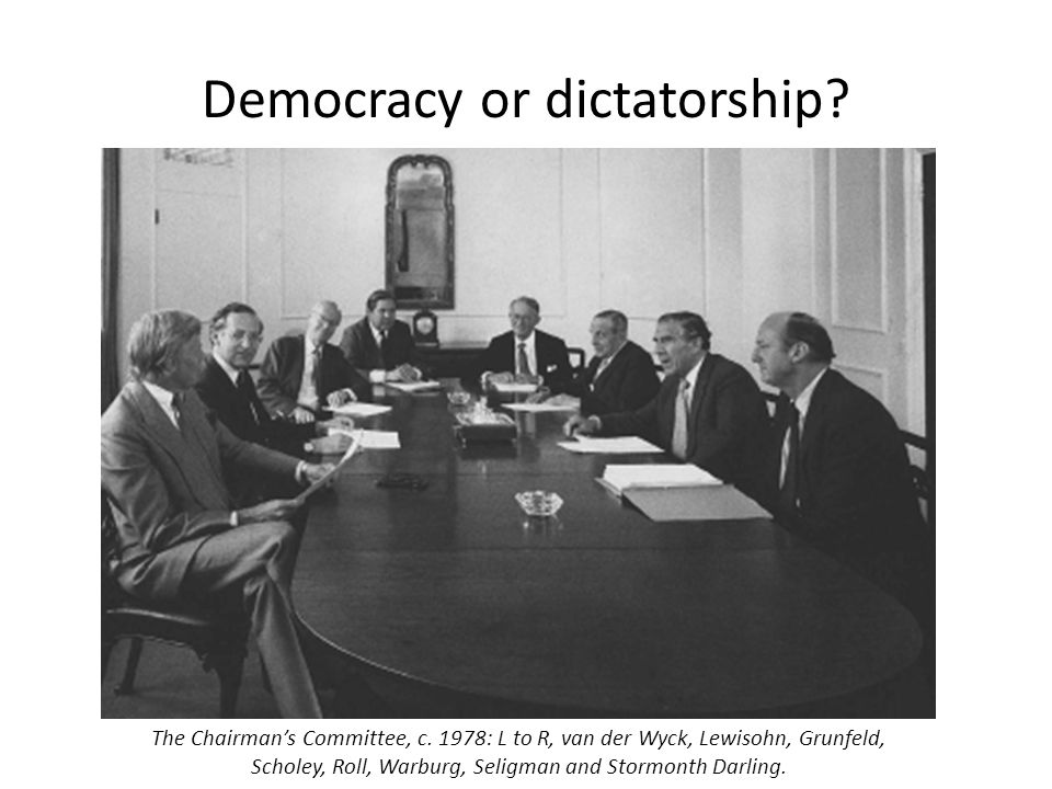 Democracy or dictatorship? The Chairman's Committee, c. 1978: L to R, van der Wyck, Lewisohn, Grunfeld, Scholey, Roll, Warburg, Seligman and Stormonth