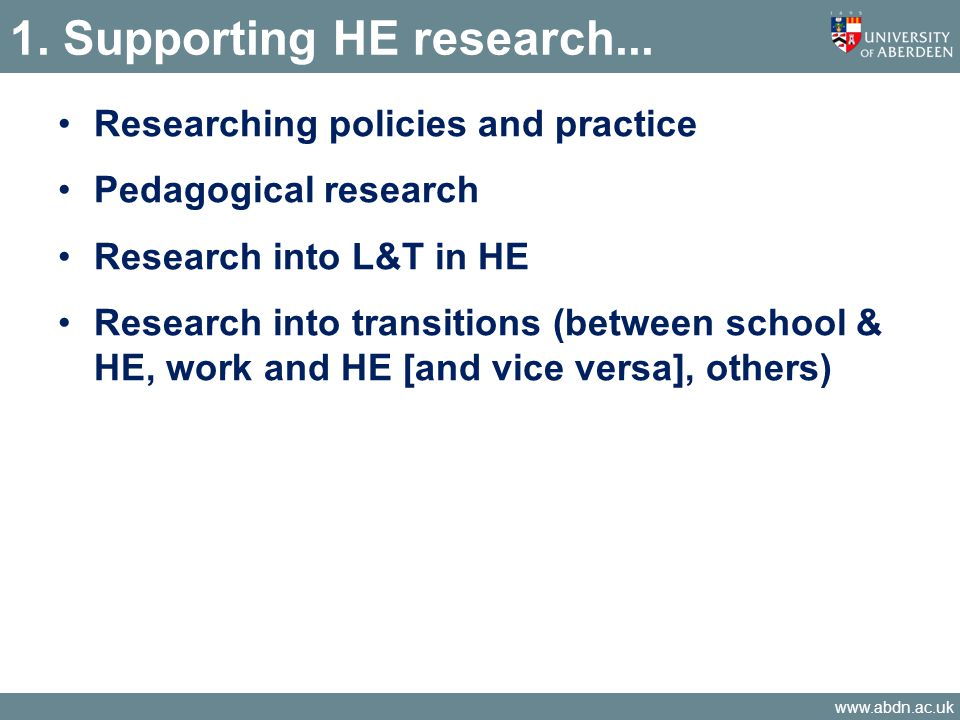 www.abdn.ac.uk Findings – funding Other funding sources mentioned (once) Arthritis Research UK Canadian Medical Council Council for Industry & HE Convention of Scottish Local Authorities General Medical Council HEFCE Department for BIS Moray Endowment Fund RCUK Fellowship Rheumatology Society Royal Pharmaceutical Society GB 'Roberts' funding Sector Skills Development Agency Scottish Institute for Excellence in Social Work Education Universities UK