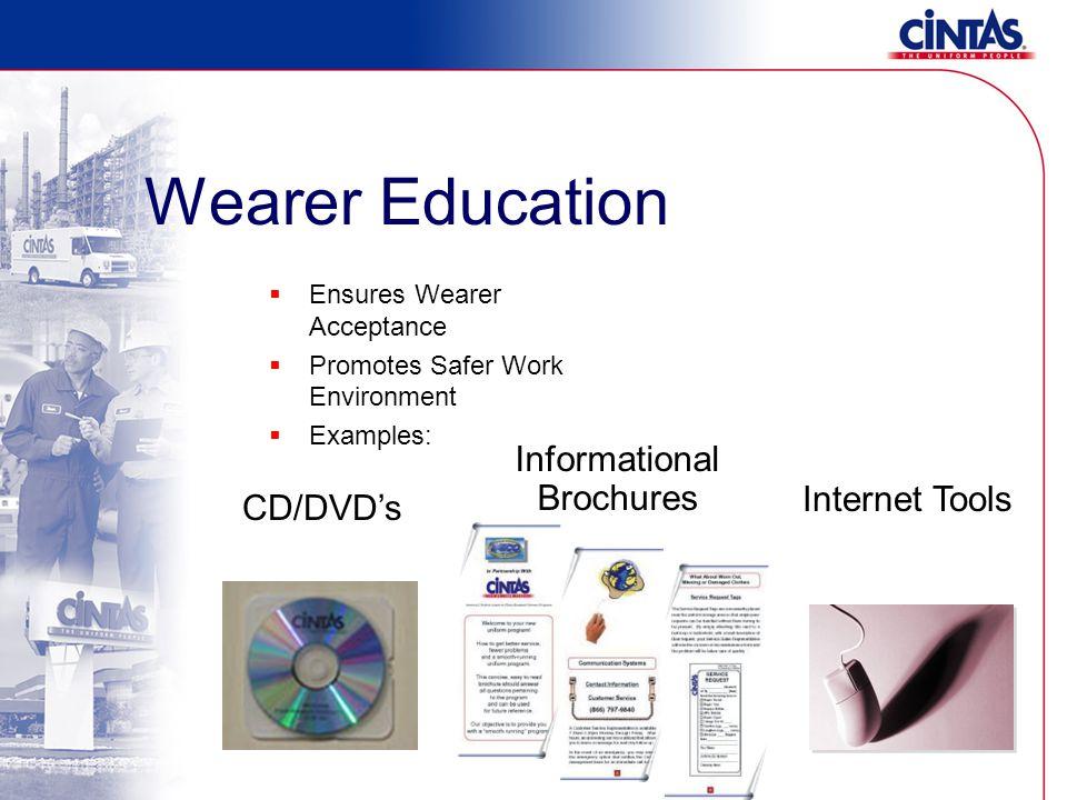 Wearer Education  Ensures Wearer Acceptance  Promotes Safer Work Environment  Examples: Informational Brochures CD/DVD's Internet Tools