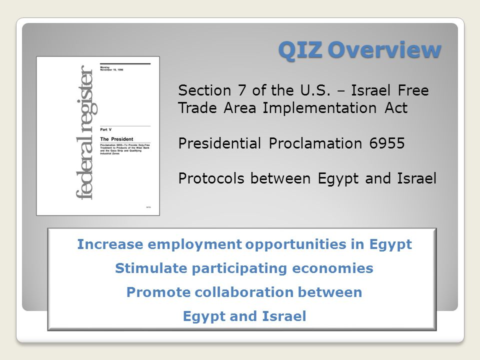 QIZ Overview Section 7 of the U.S.