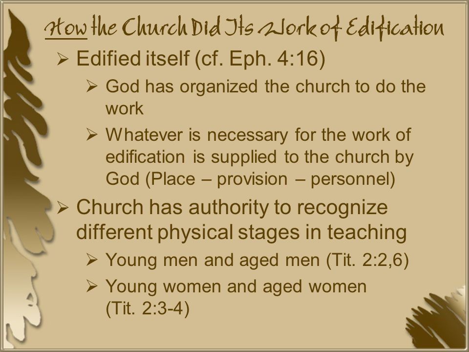 How the Church Did Its Work of Edification  Edified itself (cf.