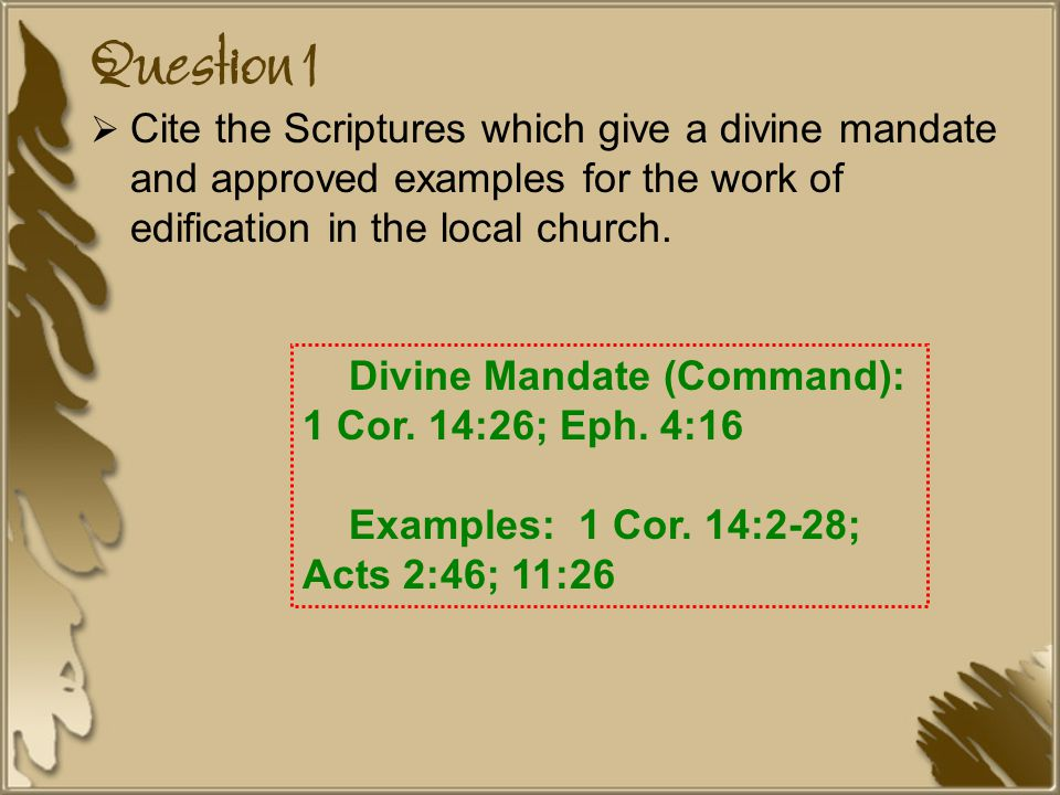 Question 1  Cite the Scriptures which give a divine mandate and approved examples for the work of edification in the local church.