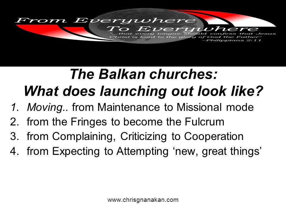 The Balkan churches: What does launching out look like.