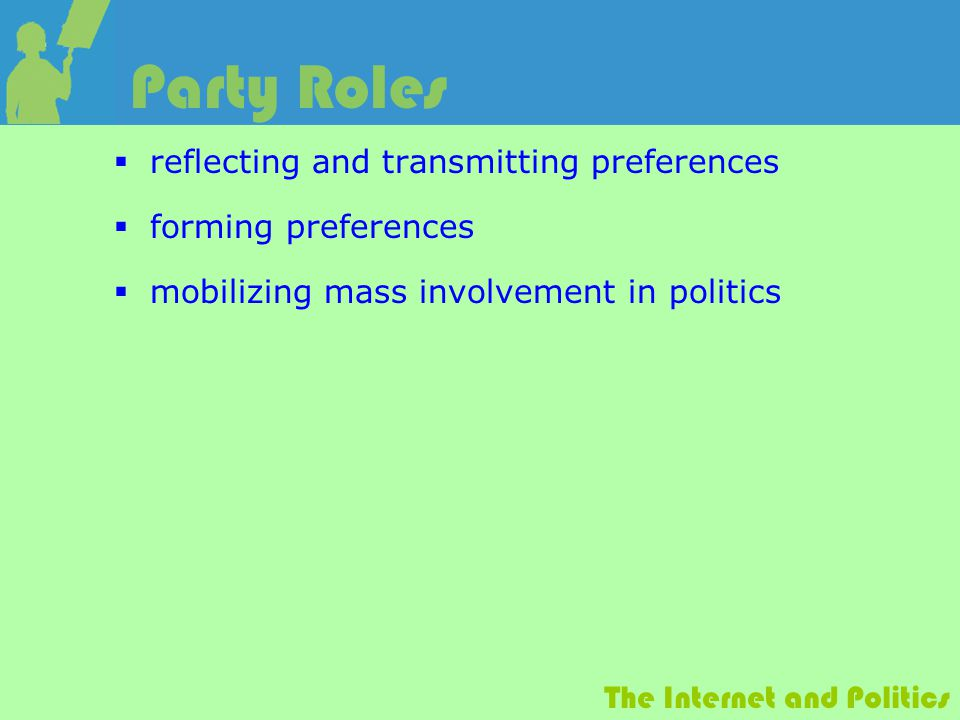 The Internet and Politics Party Roles  reflecting and transmitting preferences  forming preferences  mobilizing mass involvement in politics