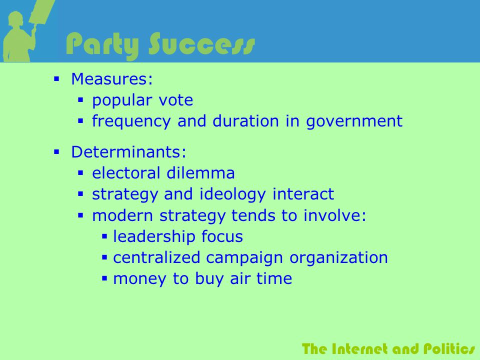 The Internet and Politics Party Success  Measures:  popular vote  frequency and duration in government  Determinants:  electoral dilemma  strategy and ideology interact  modern strategy tends to involve:  leadership focus  centralized campaign organization  money to buy air time