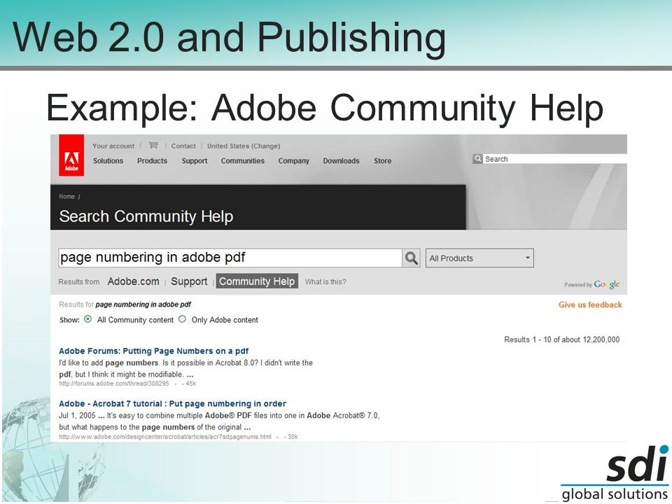 Web 2.0 and Publishing Example: Adobe Community Help