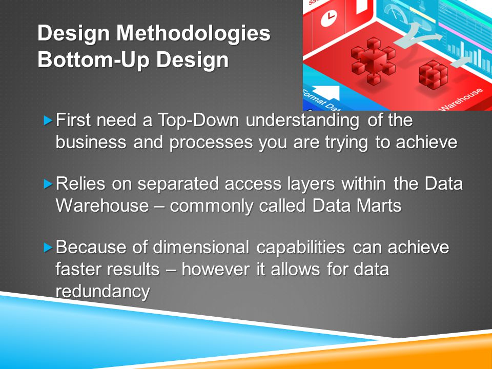 Design Methodologies Bottom-Up Design  First need a Top-Down understanding of the business and processes you are trying to achieve  Relies on separated access layers within the Data Warehouse – commonly called Data Marts  Because of dimensional capabilities can achieve faster results – however it allows for data redundancy