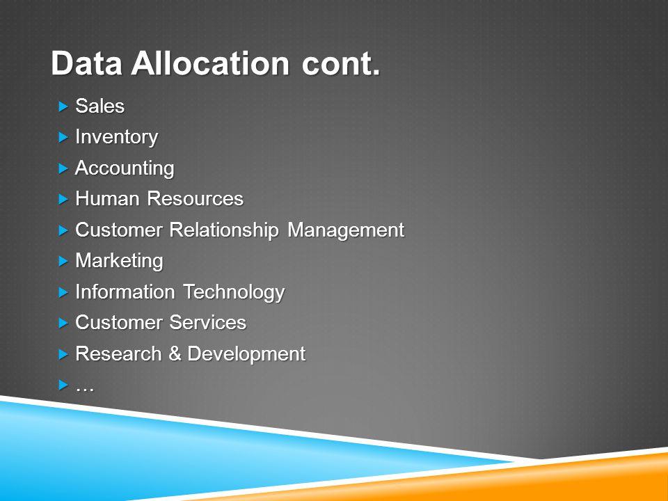 Data Allocation cont.
