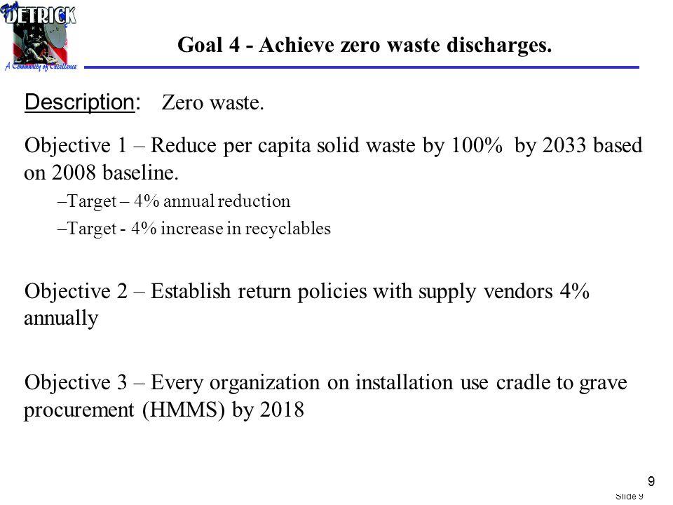 Slide 9 Goal 4 - Achieve zero waste discharges. Description: Zero waste.