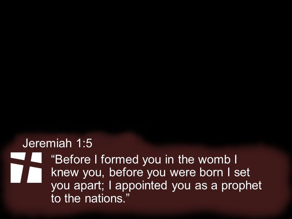 Before I formed you in the womb I knew you, before you were born I set you apart; I appointed you as a prophet to the nations. Jeremiah 1:5