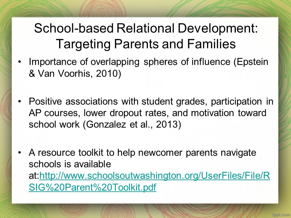 Creating School-Family Partnerships: Recommendations for School Counselors (Gonzalez et al., 2013) Invitations from the school to the family Flexible formats for involvement that respect families with limited time Parent advisory council Use of cultural brokers Creating community-school family nights www.partnershipschools.org