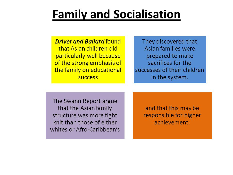 Family and Socialisation Driver and Ballard found that Asian children did particularly well because of the strong emphasis of the family on educational success They discovered that Asian families were prepared to make sacrifices for the successes of their children in the system.