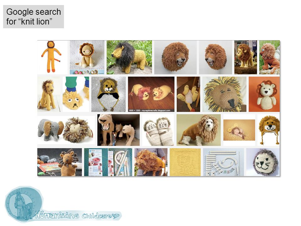 Google search for knit lion