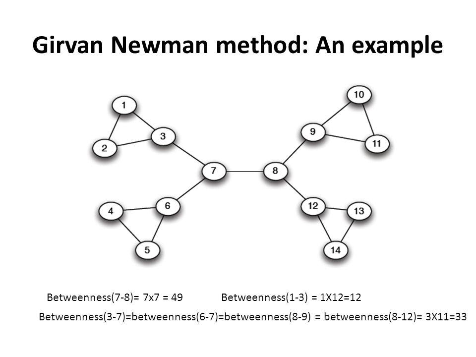 Girvan Newman method: An example Betweenness(7-8)= 7x7 = 49 Betweenness(3-7)=betweenness(6-7)=betweenness(8-9) = betweenness(8-12)= 3X11=33 Betweenness(1-3) = 1X12=12