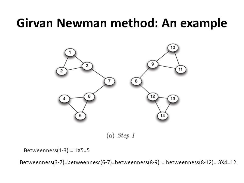 Girvan Newman method: An example Betweenness(3-7)=betweenness(6-7)=betweenness(8-9) = betweenness(8-12)= 3X4=12 Betweenness(1-3) = 1X5=5