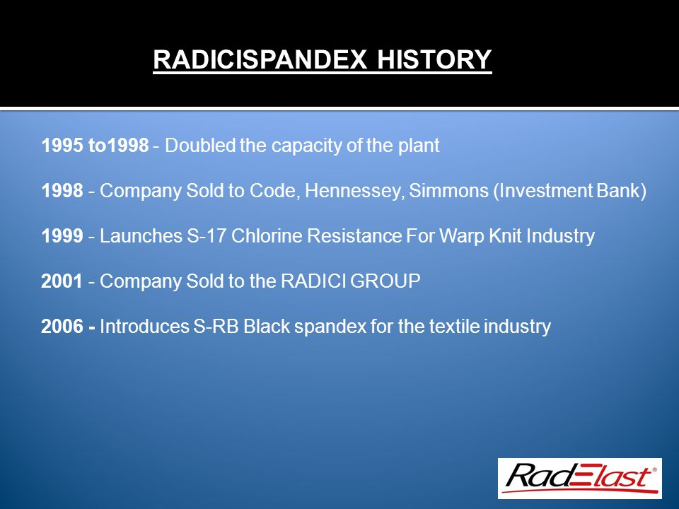 1995 to1998 - Doubled the capacity of the plant 1998 - Company Sold to Code, Hennessey, Simmons (Investment Bank) 1999 - Launches S-17 Chlorine Resistance For Warp Knit Industry 2001 - Company Sold to the RADICI GROUP 2006 - Introduces S-RB Black spandex for the textile industry RADICISPANDEX HISTORY