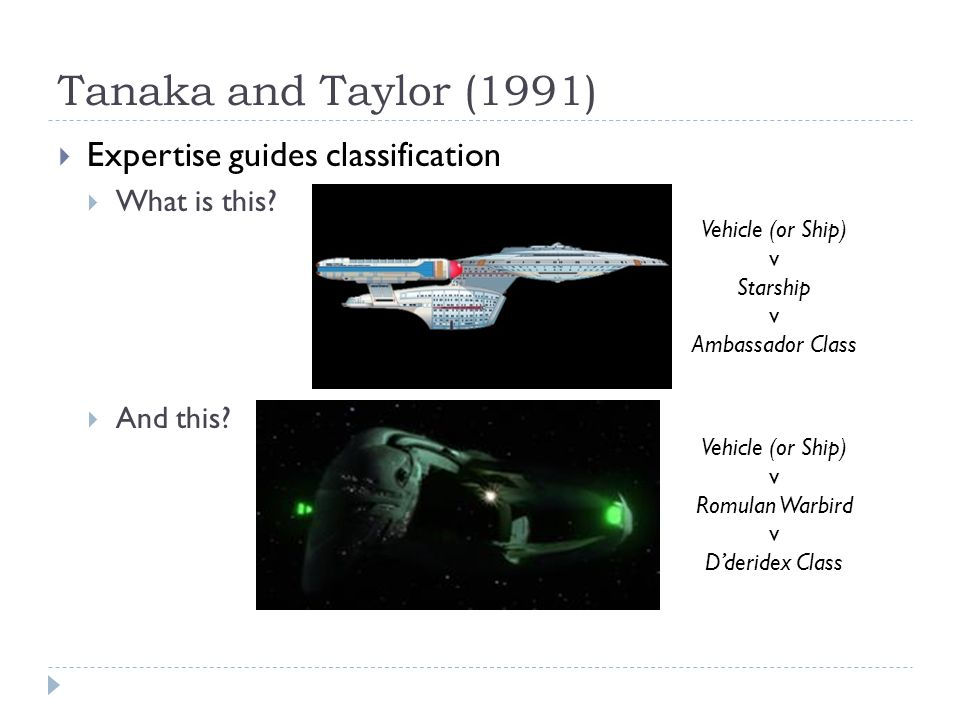 Tanaka and Taylor (1991)  Expertise guides classification  What is this?  And this? Vehicle (or Ship) v Starship v Ambassador Class Vehicle (or Shi