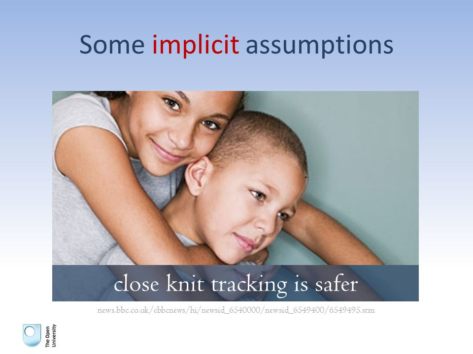 Some implicit assumptions close knit tracking is safer news.bbc.co.uk/cbbcnews/hi/newsid_6540000/newsid_6549400/6549495.stm