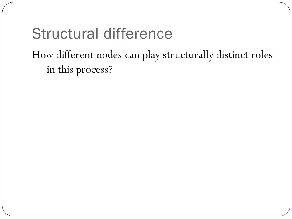 Structural difference How different nodes can play structurally distinct roles in this process