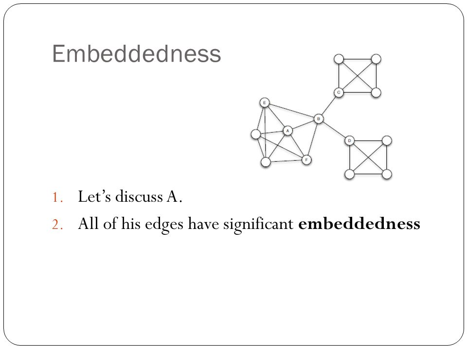 Embeddedness 1. Let's discuss A. 2. All of his edges have significant embeddedness